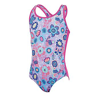 ZOGGS Girls Wild Actionback Swimsuit - Lilac/Multi