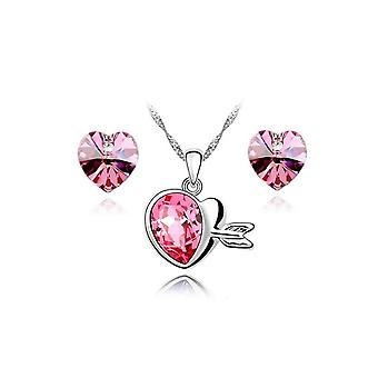 Womens Pink Crystal Love Hearts Silver Earrings And Necklace Jewellery Set