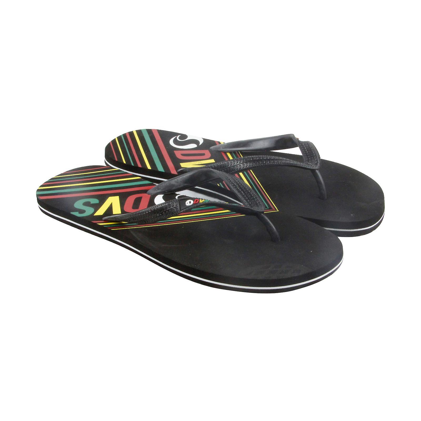 DVS Marbella On Mens Black Synthetic Slip On Marbella Flip Flops Sandals Shoes b45b62