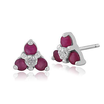 9ct White Gold 0.32ct Natural Ruby & Diamond Cluster Stud Earrings
