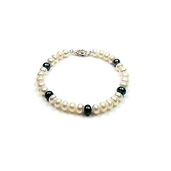 Bracelet woman in Silver 925 and cultured pearls black and white