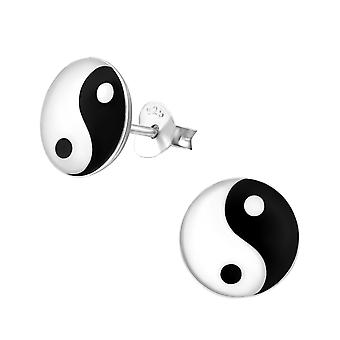 Yin and yang - 925 Sterling Silver Colourful Ear Studs