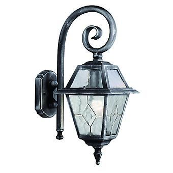 Genoa - 1  Light Outdoor Wall Bracket, Black Silver, Clear Leaded Glass
