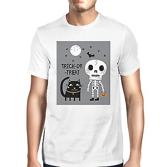 Trick-Or-Treat Black Cat White Tee Shirt For Men Short Sleeve Top