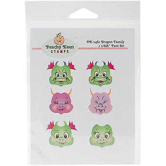 Peachy Keen Stamps Clear Face Assortment 6/Pkg-Dragon Family