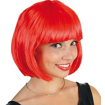 Lola neon røde Bob parykk kort hår ponni