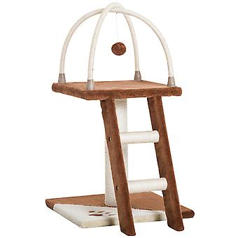 PawHut Cat Tree Activity Center Kitten Climbing Tower with Scratching Post Plush Perch Hanging Toy Brown