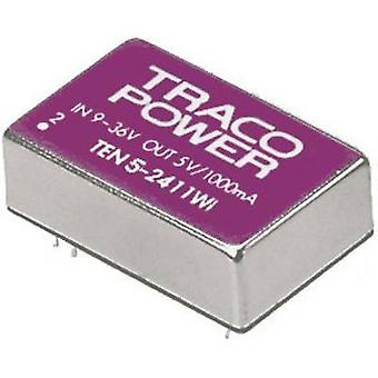 TracoPower TEN 5-4822WI DC/DC converter (print) 48 Vdc 12 Vdc, -12 Vdc 250 mA 5 W No. of outputs: 2 x