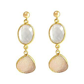 Gemshine - damas - pendiente - plata 925 - oro - DRUZY - cuarzo rosa - 4 cm