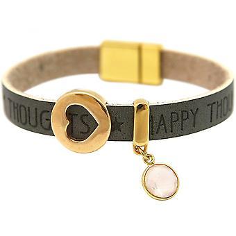 Rose Quartz - anthracite - grey - magnetic lock - bracelet - heart - love - WISHES-