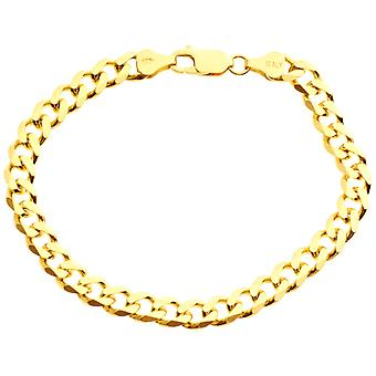 Argento Sterling 925 marciapiede catena bracciale - CURB 6, 7mm in oro