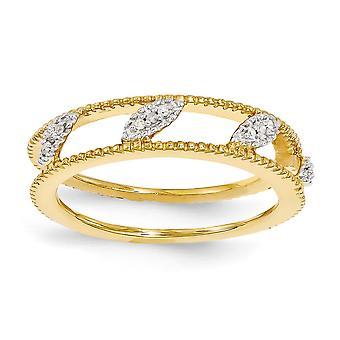 4,75 mm argento lucido Polo set impilabile espressioni-placcato rutenio giacca anello di diamante - formato dell'anello: 5 a 1