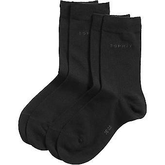 Esprit Basic Fine Knit Mid-Calf 2 Pack Socks - Black