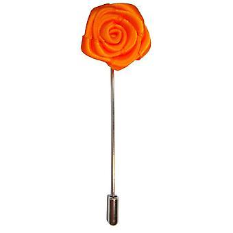 Bassin and Brown Rose Flower Lapel Pin - Orange