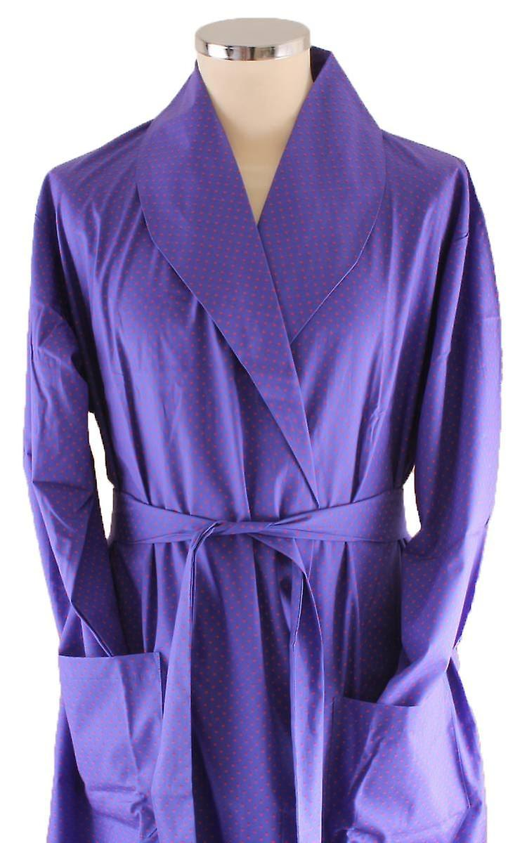 Bown of London Queensgate Spot Dressing Gown - Blue/Red