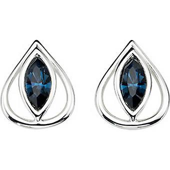Elements Silver Oval Eye Hook Earrings - Silver/Blue