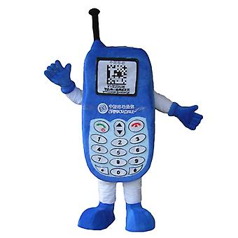 Blue mobile phone SPOTSOUND mascot, with a keyboard