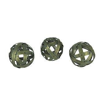 Distressed Bronze Finish Metal Bands Decor Balls Set of 3
