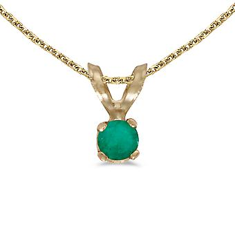 10k Yellow Gold Round Emerald Pendant with 16