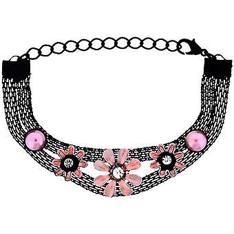 The Olivia Collection Girls - Ladies Black Mesh Bracelet with Pink Flowers FJ208