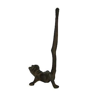 Portarrollos de papel marrón rústica de hierro fundido pata larga rana