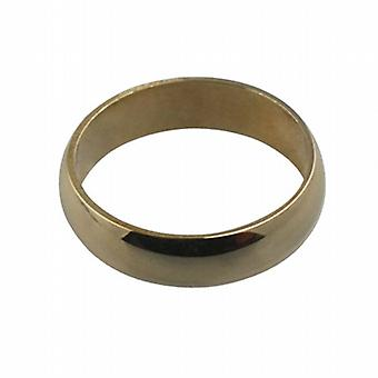 9ct Gold plain D shaped Wedding Ring 5mm wide in Size I