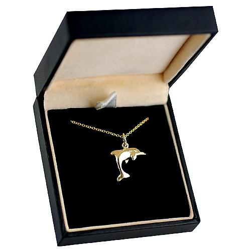 9ct Gold 14x17mm leaping Dolphin Pendant with a cable Chain 16 inches Only Suitable for Children