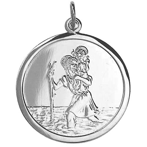 Silver 25mm round St Christopher Pendant