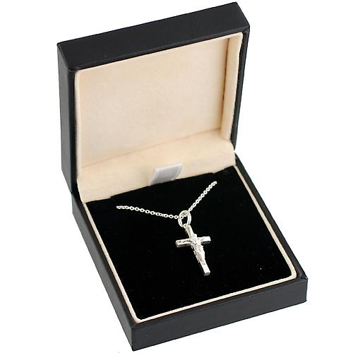 Silver 20x12mm plain block Crucifix with Rolo chain