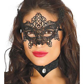 Womens Black Embroidered Ornate Eye Mask Fancy Dress Accessory