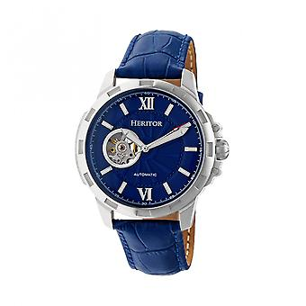 Heritor Automatic Bonavento Semi-Skeleton Leather-Band Watch - Silver/Blue
