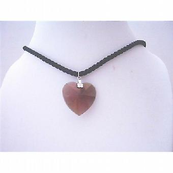 Garnet Heart Pendant Necklace Swarovski 28mm Xilion Heart Pendant