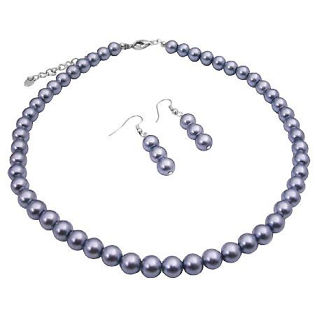 Beautiful Wedding Maid Of Honor Jewelry Grey Pearls Necklace Set