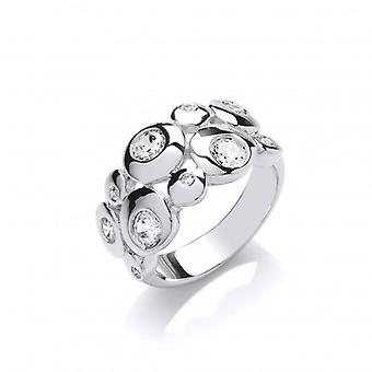 Cavendish French Silver and CZ Moon Bubbles Ring