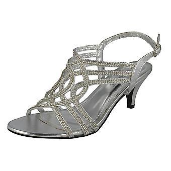 Ladies Anne Michelle Open Toe Diamante Occasion Heels