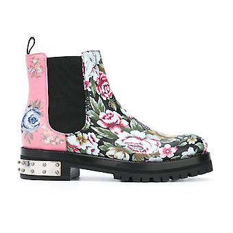 Alexander Mcqueen Multicolor Leather Ankle Boots