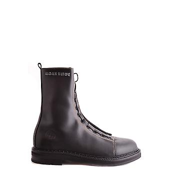 Stone Island Black Leather Ankle Boots