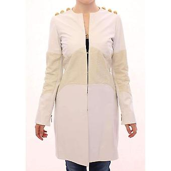 Vladimiro Gioia White Leather Long Crocco Jacket -- GSS1830149