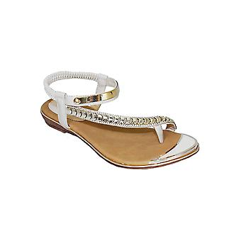 JLH753 Asia Ladies Diamante Asymmetric Stretchy Strap Holiday Fashion Sandals