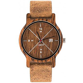 Watch D.W.Y.T DW-00202-1002 - como founder Wood Leather Brown man