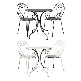 Charles Bentley Outdoor Powder Coated Steel Heart 3 Piece Shabby Chic Bistro Set-Weather Resistant in Cream & Grey
