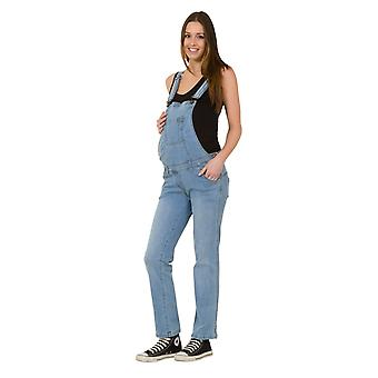 Denim Maternity Dungarees - Palewash Pregnancy Fashion Overalls