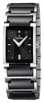 Festina Womens' Black Ceramic Stainless Steel Rectangular Dial F16536/2 Watch
