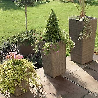 Maze Rattan Winchester - Set of 3 Tall Rattan Planters