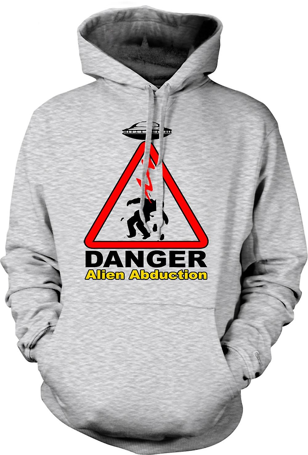 Mens Hoodie - Danger Alien Abduction - UFO - Funny