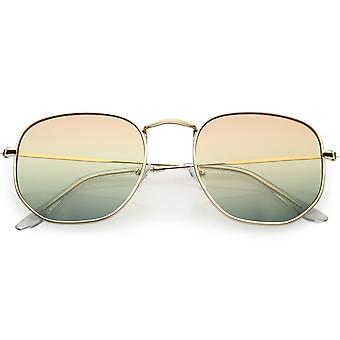 Retro Geometric Metal Sunglasses With Dual Color Gradient Lenses