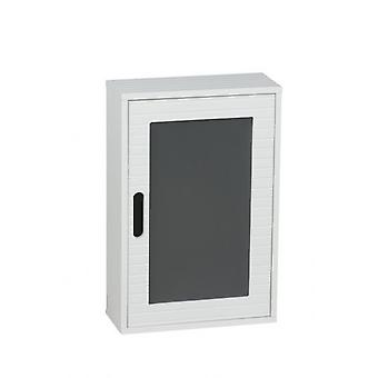 Home Bathroom White Wooden Wall Hanging Cabinet with self 48x32cm