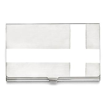 Men's Stainless Steel Polished and Brushed Card Holder - Engravable Gift Item
