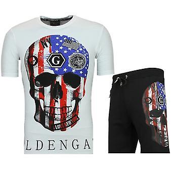 American Flag Clothing-Fitness tracksuit men-F575-White