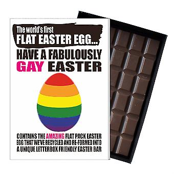 Funny Flat Easter Egg Chocolate Bar Greeting Card Gift LGBT Gay Man Queer UK EIYF125